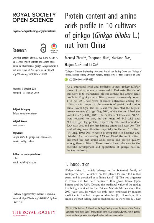 Protein content and amino acids profile in 10 cultivars of ginkgo (Ginkgo biloba L.) nut from China