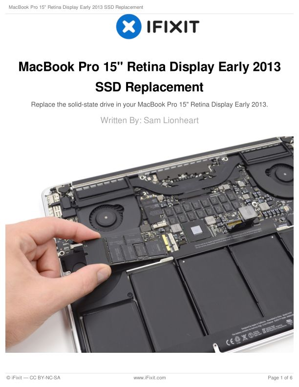 """MacBook Pro 15"""" Retina Display Early 2013 SSD Replacement"""