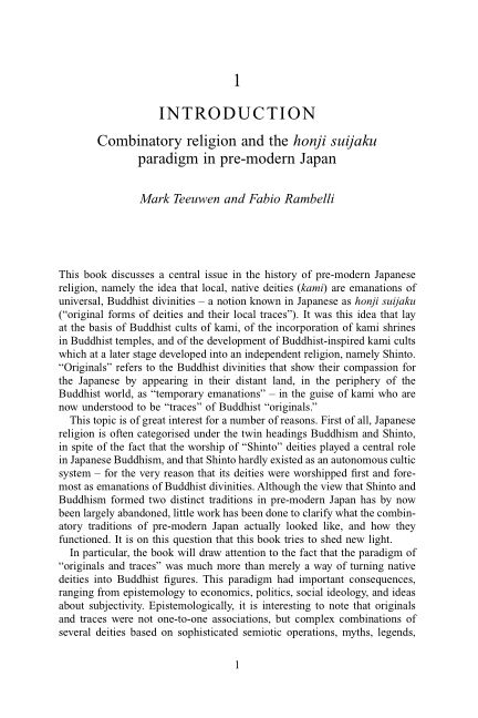 Introduction: combinatory religion and the honji suijaku paradigm in pre-modern Japan   Page 5