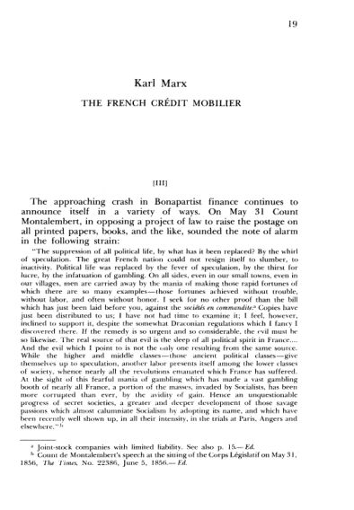 K. Marx. The French Credit Mobilier. Ill    Page 6