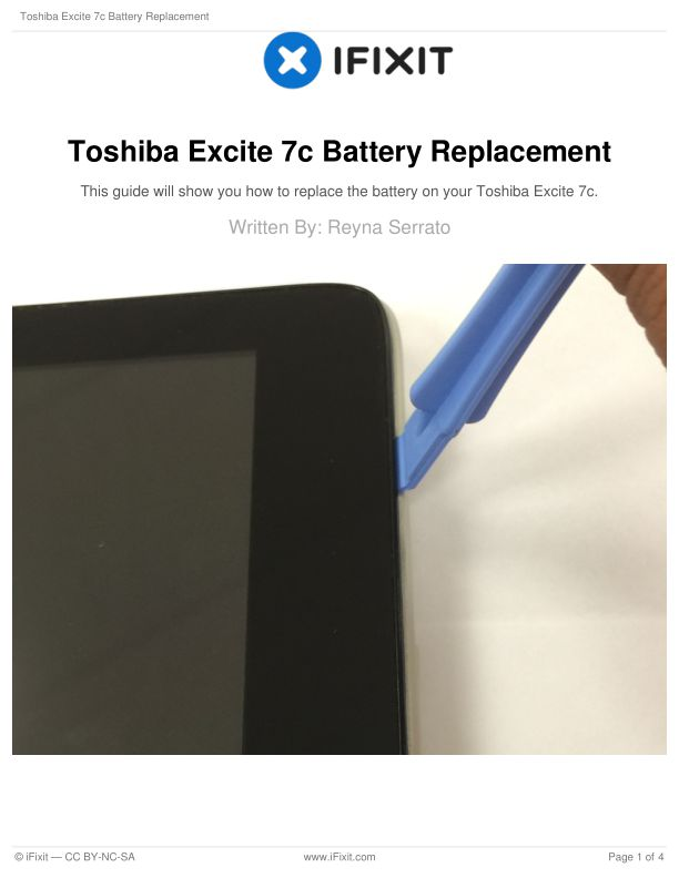 Toshiba Excite 7c Battery Replacement