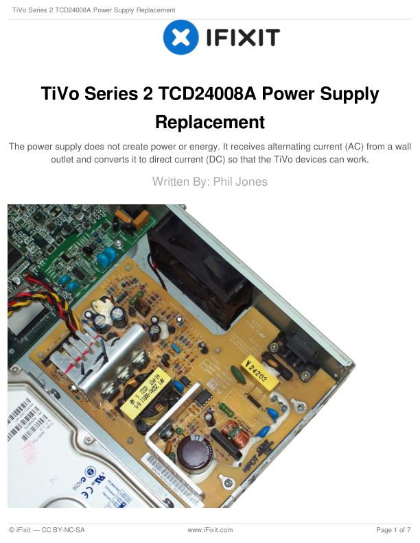 TiVo Series 2 TCD24008A Power Supply Replacement