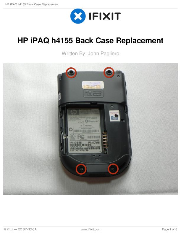 HP iPAQ h4155 Back Case Replacement