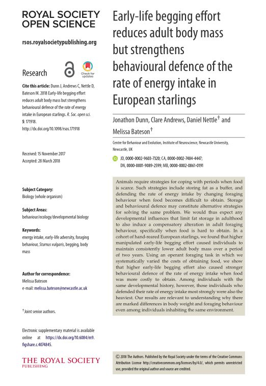 Early-life begging effort reduces adult body mass but strengthens behavioural defence of the rate of energy intake in European starlings