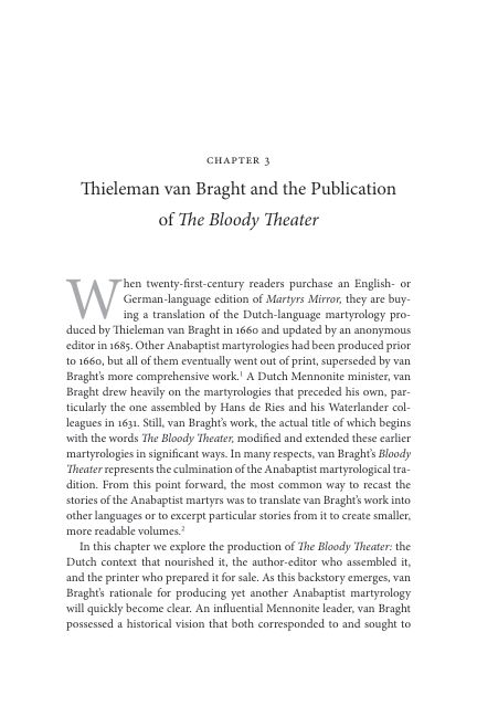 CHAPTER 3. Thieleman van Braght and the Publication of The Bloody Theater   Page 9