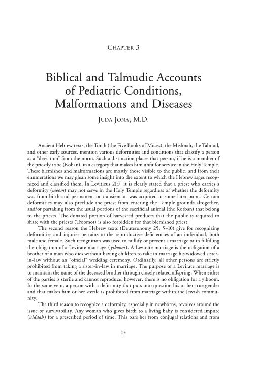 3. Biblical and Talmudic Accounts of Pediatric Conditions, Malformations and Diseases   Page 7