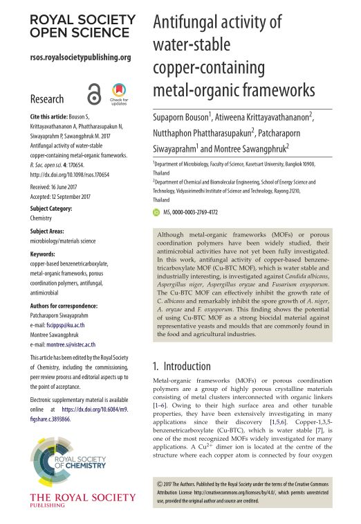 Antifungal activity of water-stable copper-containing metal-organic frameworks