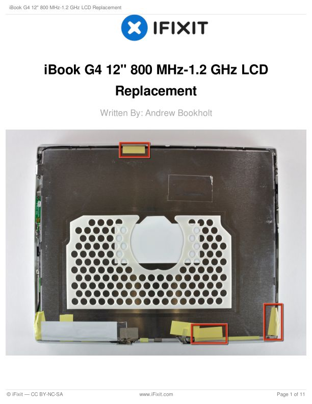 """iBook G4 12"""" 800 MHz-1.2 GHz LCD Replacement"""