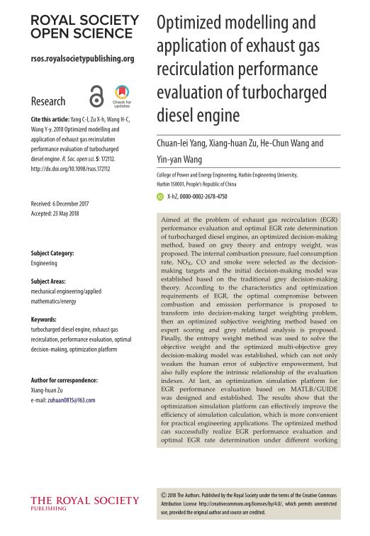 Optimized modelling and application of exhaust gas recirculation performance evaluation of turbocharged diesel engine