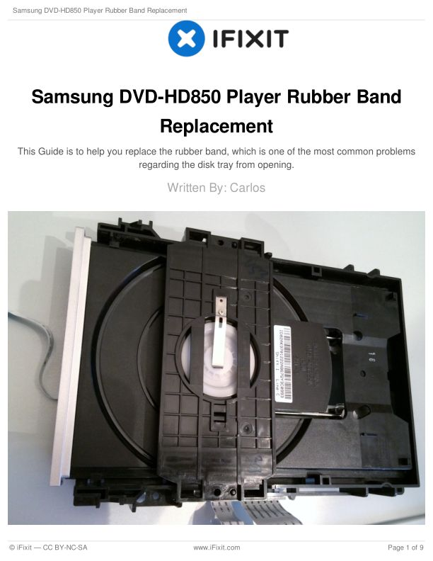 Samsung DVD-HD850 Player Rubber Band Replacement