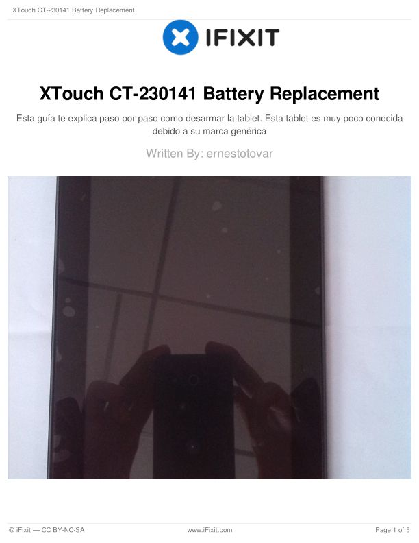 XTouch CT-230141 Battery Replacement