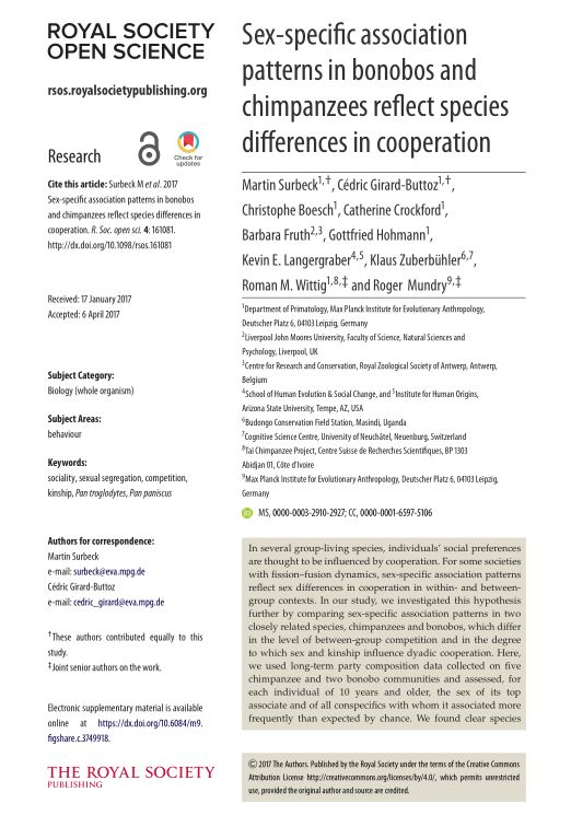 Sex-specific association patterns in bonobos and chimpanzees reflect species differences in cooperation
