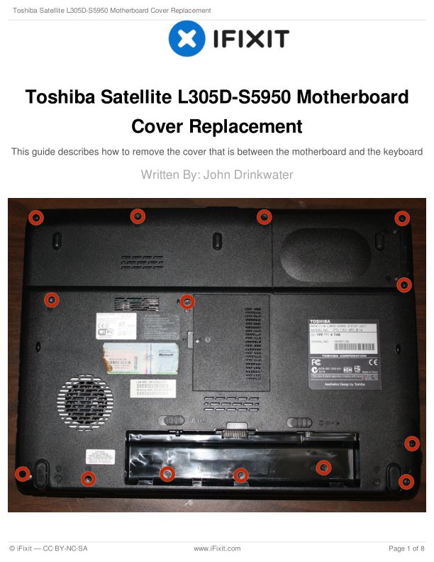 Toshiba Satellite L305D-S5950 Motherboard Cover Replacement
