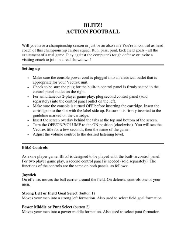 Blitz! Action Football - GCE Vectrex - Manual - gamesdatabase.org