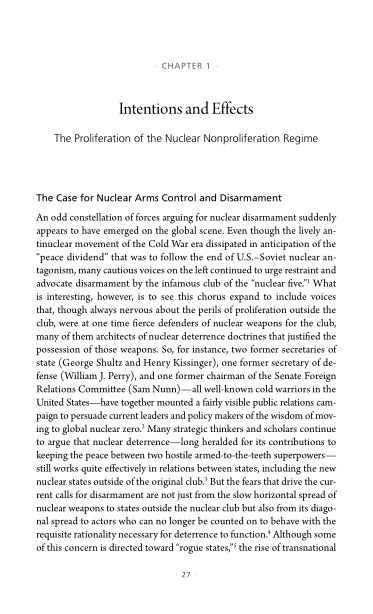 1. Intentions and Effects: The Proliferation of the Nuclear Nonproliferation Regime   Page 5
