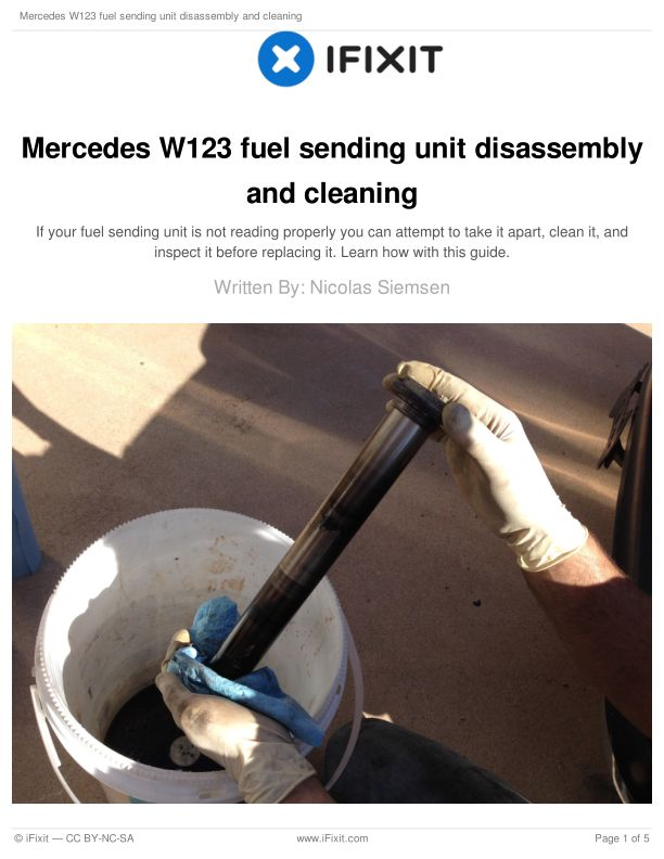 Mercedes W123 fuel sending unit disassembly and cleaning
