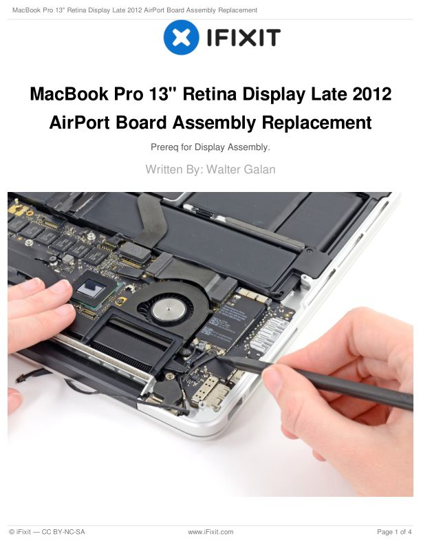 """MacBook Pro 13"""" Retina Display Late 2012 AirPort Board Assembly Replacement"""