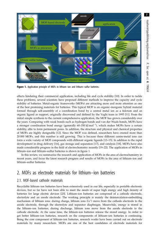 MOFs as electrode materials for lithium–ion batteries | Page 0