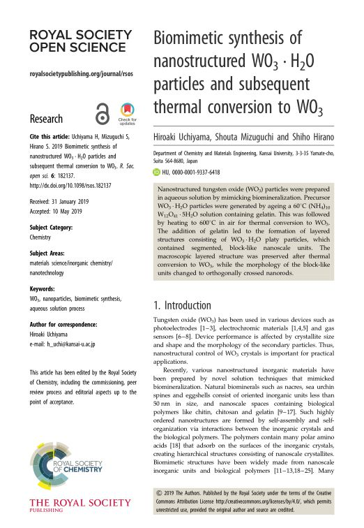 Biomimetic synthesis of nanostructured WO3 · H2O particles and subsequent thermal conversion to WO3