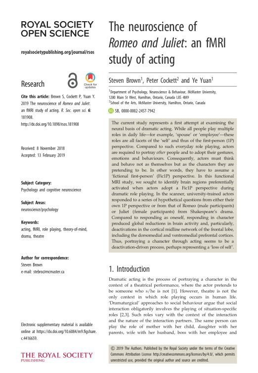 The neuroscience of Romeo and Juliet: an fMRI study of acting