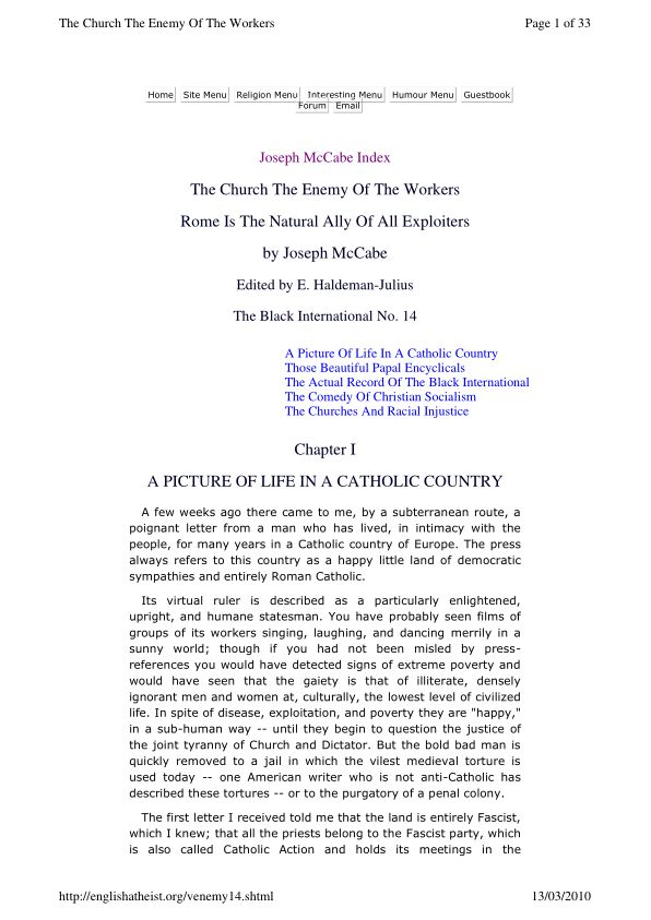 The Church The Enemy of the Workers (The Black International No.14)