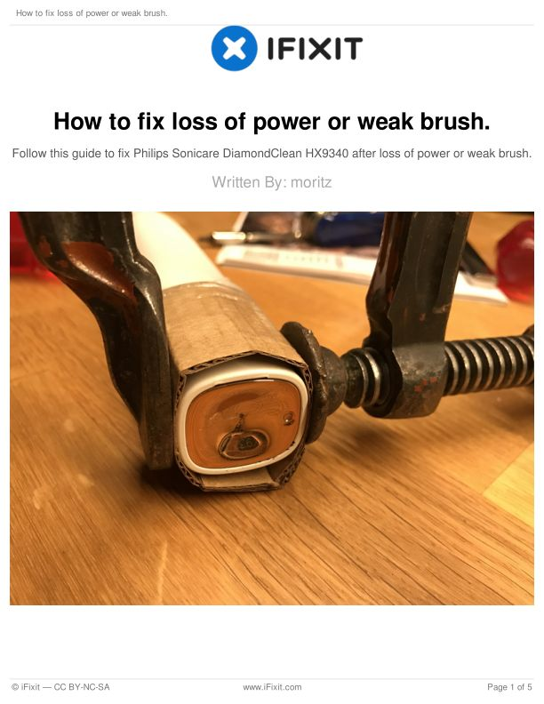 How to fix loss of power or weak brush.