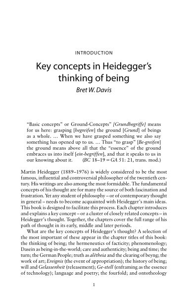 Introduction: key concepts in Heidegger's thinking of being   Page 8