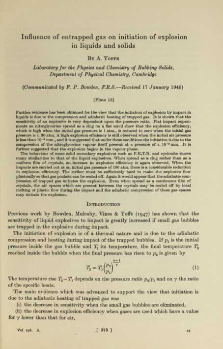 Influence of entrapped gas on initiation of explosion in liquids and solids