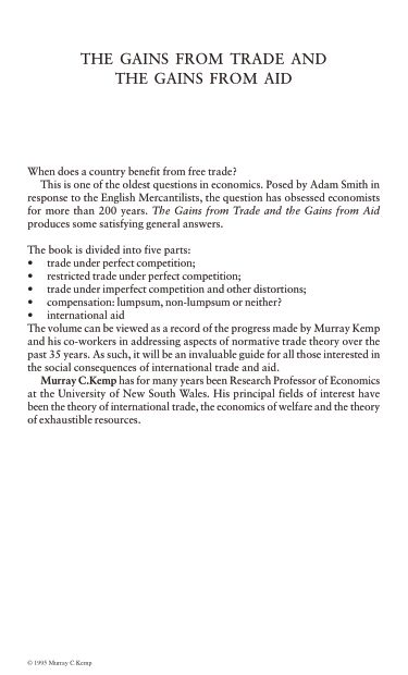 Gains from Trade: Essays in International Trade Theory, The