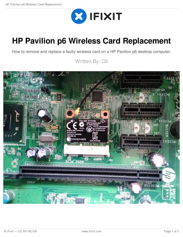 HP Pavilion p6 Wireless Card Replacement
