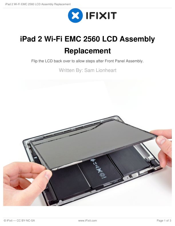 iPad 2 Wi-Fi EMC 2560 LCD Assembly Replacement