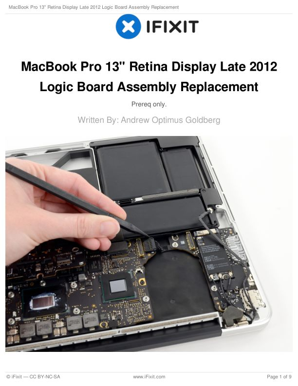 """MacBook Pro 13"""" Retina Display Late 2012 Logic Board Assembly Replacement"""