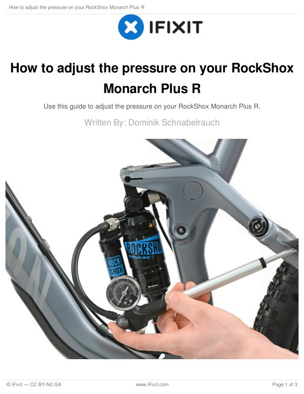 How to adjust the pressure on your RockShox Monarch Plus R