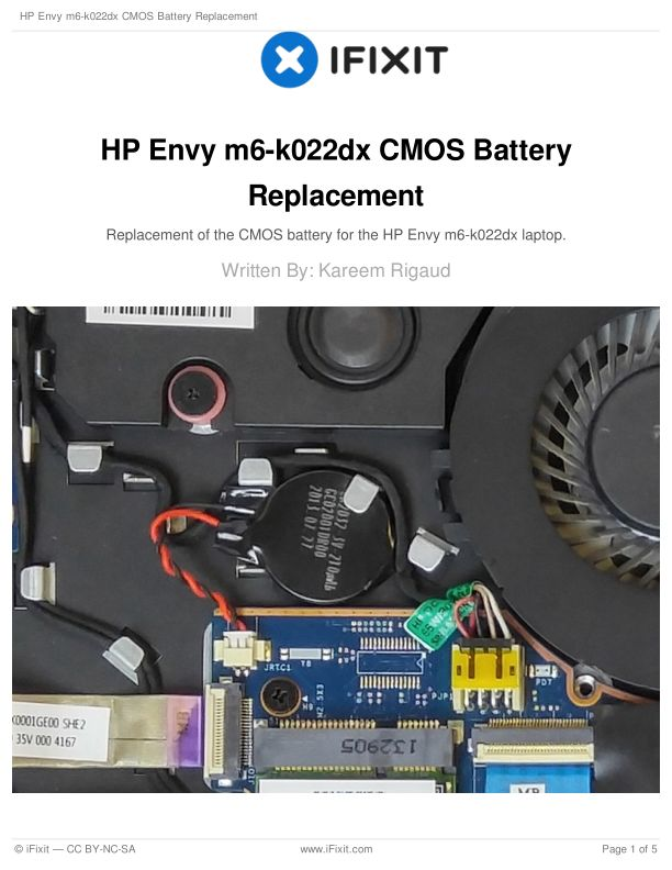 HP Envy m6-k022dx CMOS Battery Replacement