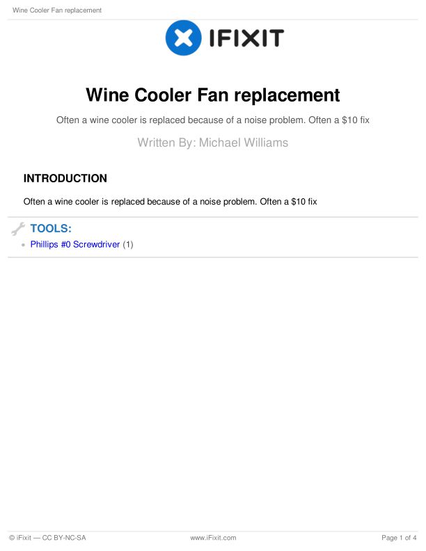 Wine Cooler Fan replacement