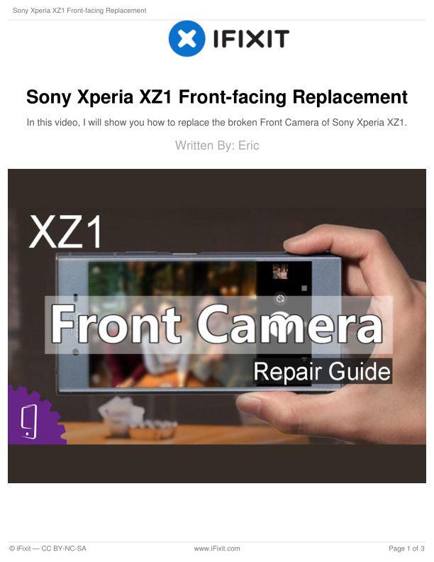 Sony Xperia XZ1 Front-facing Replacement