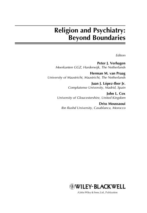 Religion and Psychiatry: Beyond Boundaries   Page 0