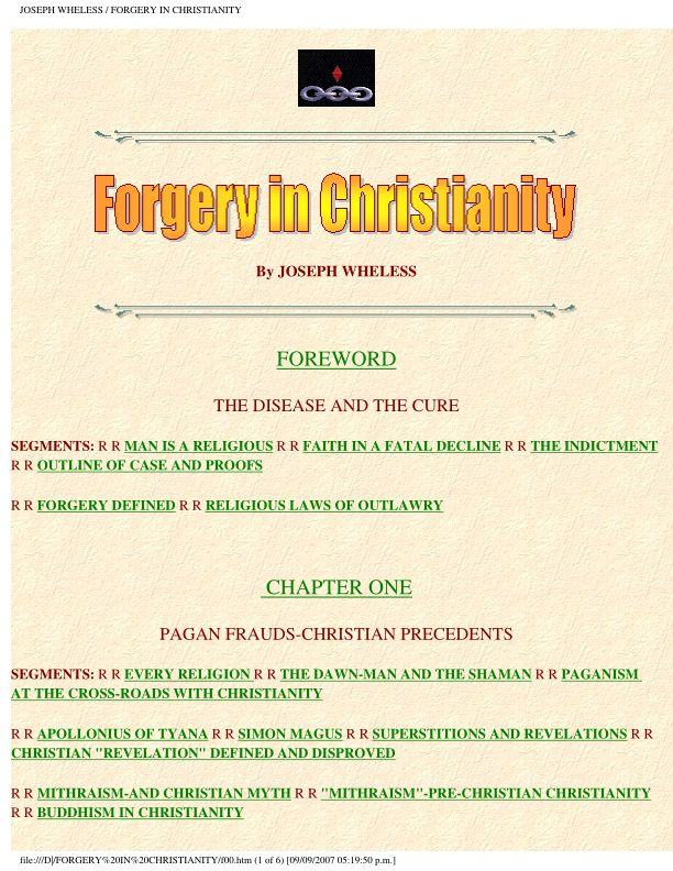 JOSEPH WHELESS / FORGERY IN CHRISTIANITY