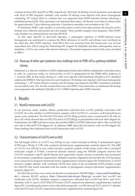 Bioassay of white spot syndrome virus challenge tests in PERK-eIF2 pathway inhibited shrimp | Page 9