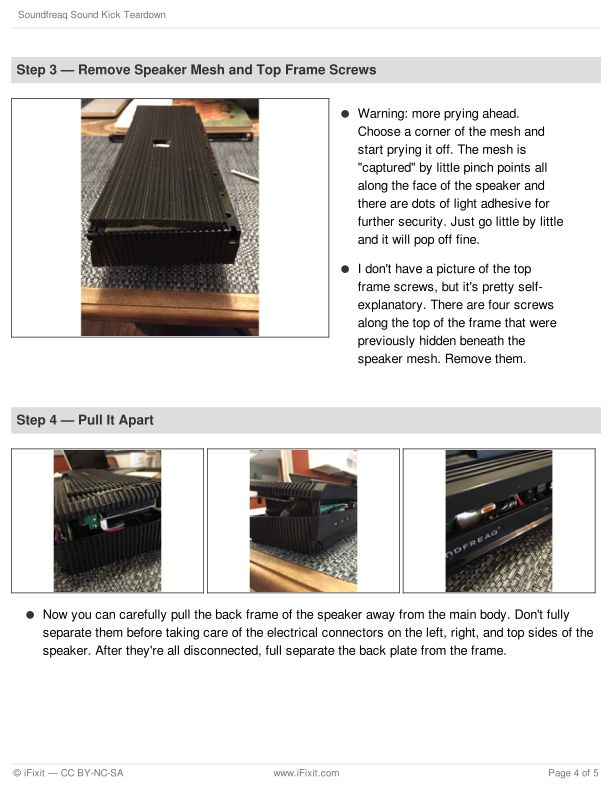 Step 3 — Remove Speaker Mesh and Top Frame Screws | Page 4