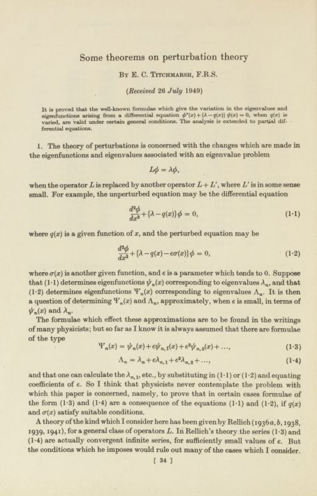 Some theorems on perturbation theory