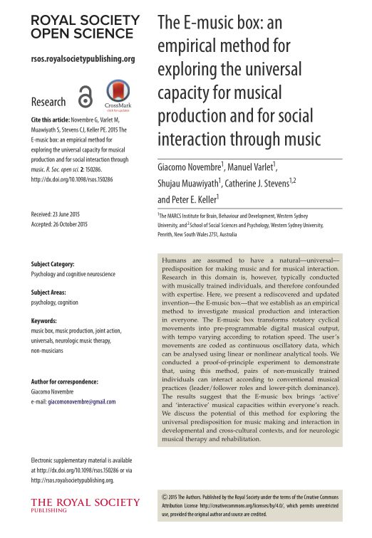 The E-music box: an empirical method for exploring the universal capacity for musical production and for social interaction through music