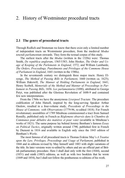 2. History of Westminster procedural tracts | Page 9