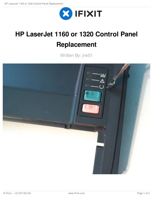 HP LaserJet 1160 or 1320 Control Panel Replacement