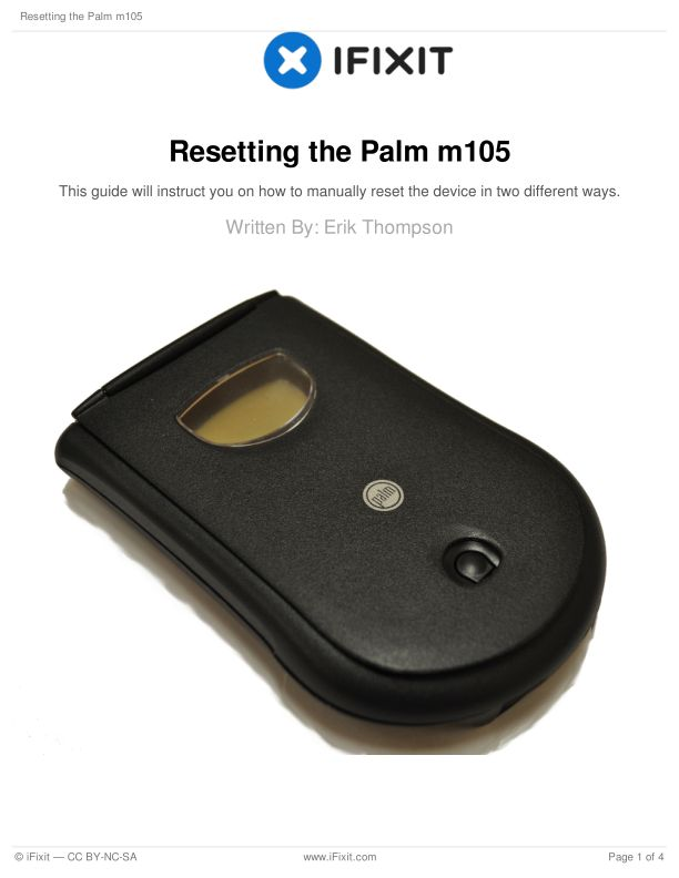 Resetting the Palm m105