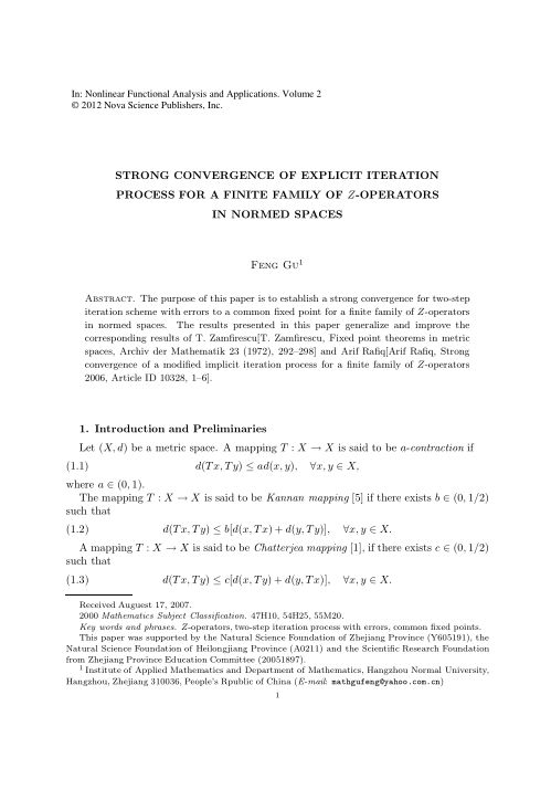 STRONG CONVERGENCE OF EXPLICIT ITERATION PROCESS FOR A FINITE FAMILY OF Z-OPERATORS IN NORMED SPACES   Page 4