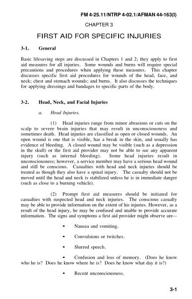 CHAPTER 3 FIRST AID FOR SPECIFIC INJURIES | Page 7