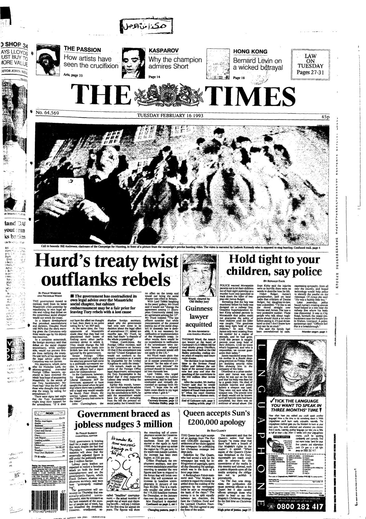 The Times Issue No. 64569. 1993-02-16, UK