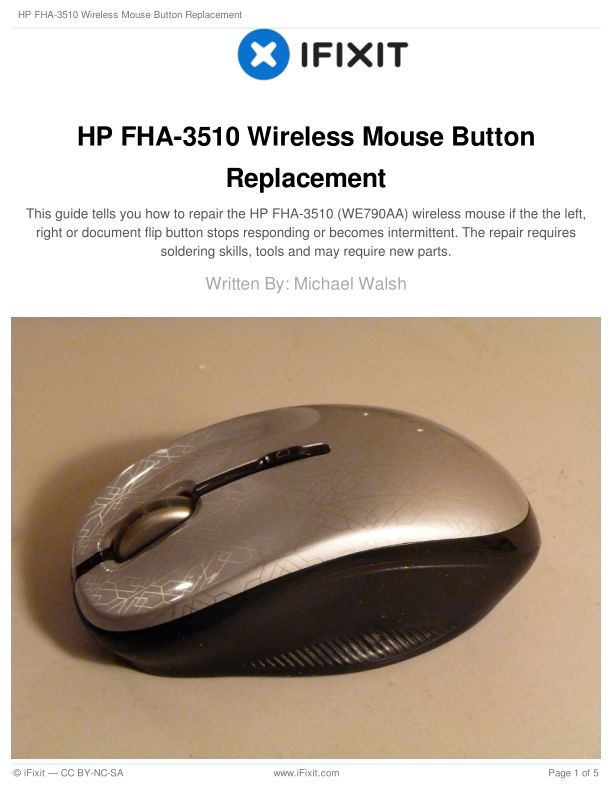 HP FHA-3510 Wireless Mouse Button Replacement