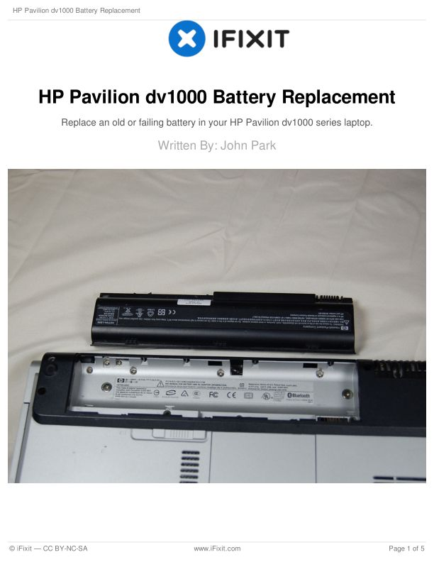 HP Pavilion dv1000 Battery Replacement
